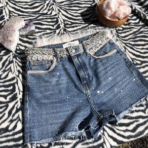 Swarovski crystals too shop jean shorts